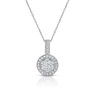 Noray Designs 14k White Gold .82ct TDW Diamond Cluster Pendant Necklace (G-H, SI1-SI2)