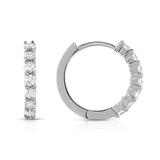 Noray Designs 14k White Gold .62ct TDW Diamond Hoop Earrings