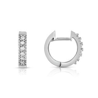 Noray Designs 14K White Gold Diamond (0.12 Ct, G-H Color, SI1-SI2 Clarity) Hoop Earrings.
