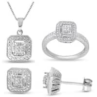 0.08 CTTW Diamond Square Set in Sterling Silver