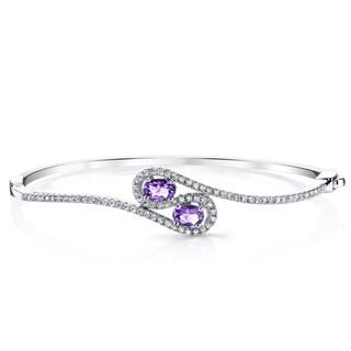 Oravo 1-carat Amethyst Sterling Silver Infinity Bangle Bracelet