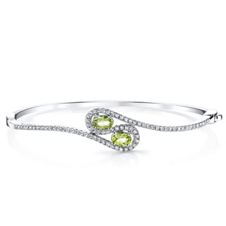 Oravo Sterling Silver 1 Carat Peridot Infinity Bangle Bracelet