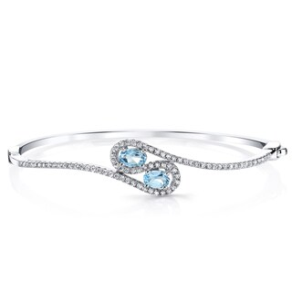 Oravo 1-carat Swiss Blue Topaz Sterling Silver Infinity Bangle Bracelet