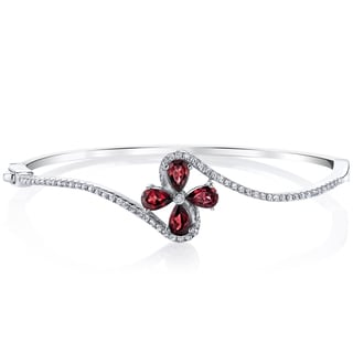 Oravo Sterling Silver 2-carat Garnet Petal Bangle Bracelet