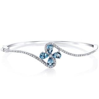 Oravo Sterling Silver 2-carat London Blue Topaz Petal Bangle Bracelet