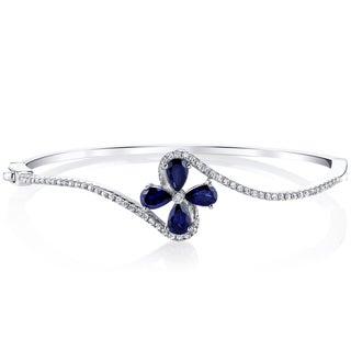 Oravo Sterling Silver Created Blue Sapphire Petal Bangle Bracelet