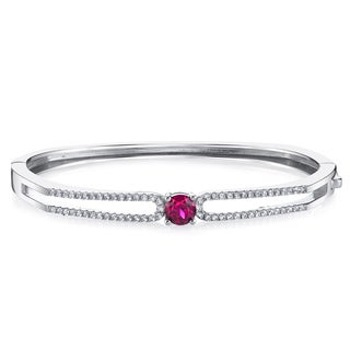 Oravo Solaris Sterling Silver 1.25-carat Created Ruby Bangle Bracelet