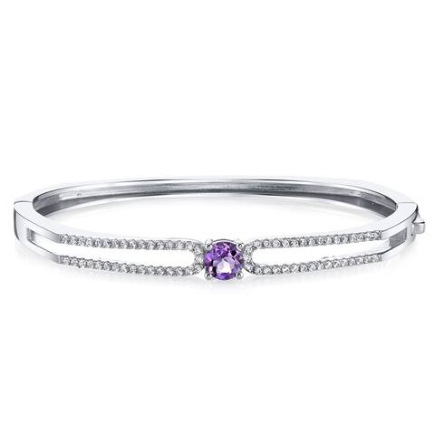 Oravo Sterling Silver 0.75 carats Amethyst Solaris Bangle Bracelet