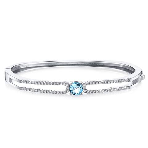 Oravo Solaris Sterling Silver 1-carat Swiss Blue Topaz Bangle Bracelet