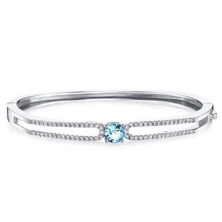 Oravo Solaris Sterling Silver 1-carat Swiss Blue Topaz Bangle Bracelet