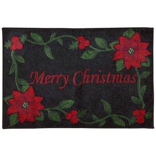 """Nourison Accent Decor Merry Christmas Black Accent Rug - 1'6"""" x 2'6"""""""