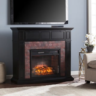 Harper Blvd Kerns Black and Red Faux Brick Infrared Electric Media Fireplace