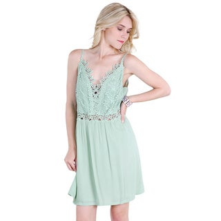 Nikibiki Women's Mint Green Rayon Leaf Lace-trim Slip Dress