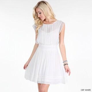 Nikibiki Women's Off-white Lace Trim Applique Gauze Dress