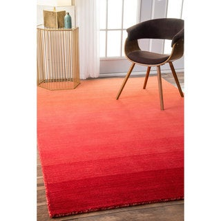 nuLOOM Handmade Contemporary Ombre Red Rug (4' x 6')