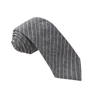 Knot Society Men's Black Stripe Pattern Skinny Cotton Tie