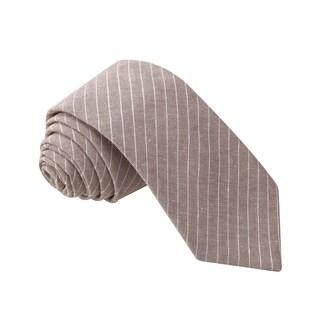Knot Society Men's Brown Stripe Pattern Skinny Cotton Tie