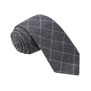 Knot Society Men's Grey Check Pattern Skinny Cotton Tie