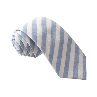 Knot Society Men's Blue Stripe Pattern Skinny Cotton Tie