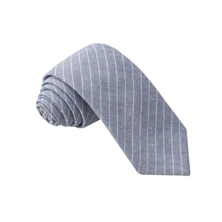 Knot Society Men's Grey Stripe Pattern Skinny Cotton Tie