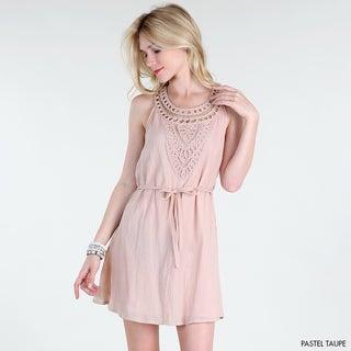 NikiBiki Women's Pastel Taupe Macrame Neck Applique A-line Dress