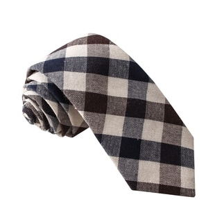 Knot Society Men's Brown Plaid Pattern Skinny Cotton Tie