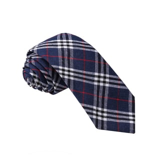 Knot Society Men's Blue Plaid Pattern Skinny Cotton Tie