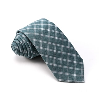 Knot Society Men's Green Check Pattern Skinny Cotton Tie