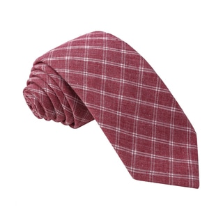 Knot Society Men's Red Check Pattern Skinny Cotton Tie