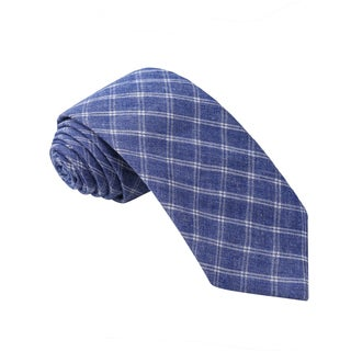 Knot Society Men's Blue Check Pattern Skinny Cotton Tie