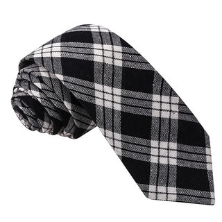 Knot Society Men's Black Plaid Pattern Skinny Cotton Tie