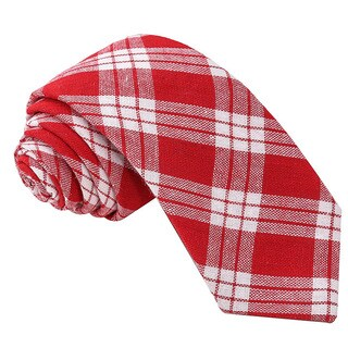 Knot Society Men's Red Plaid Pattern Skinny Cotton Tie
