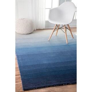 nuLOOM Handmade Contemporary Ombre Blue Rug (4' x 6')