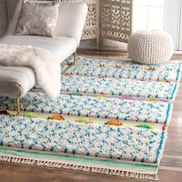 nuLOOM Soft and Plush Handmade Moroccan Trellis Shag Ivory Rug (2' x 3') - 2' x 3'