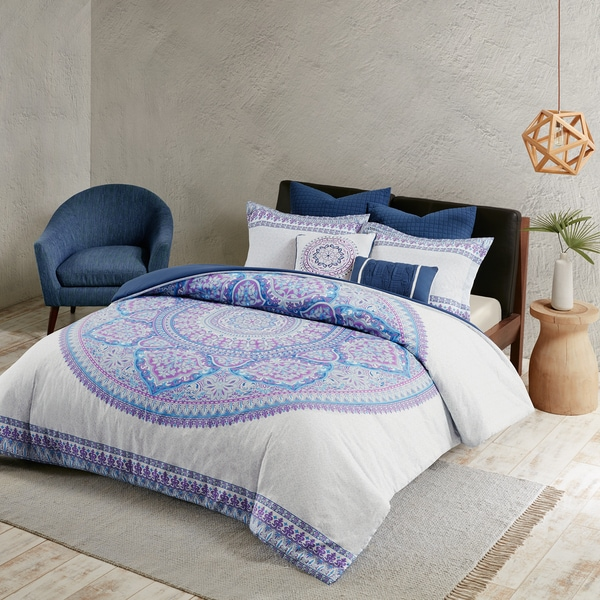 Urban Habitat Candice Purple Cotton Percale Printed Duvet Cover Set