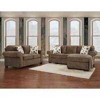 Cleo 2-piece Ash Grey Reversible Sofa/ Chaise and Loveseat Set