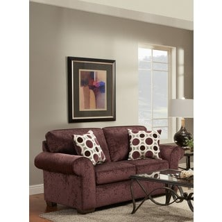 Chloe Burgundy Loveseat with Matching Pillows