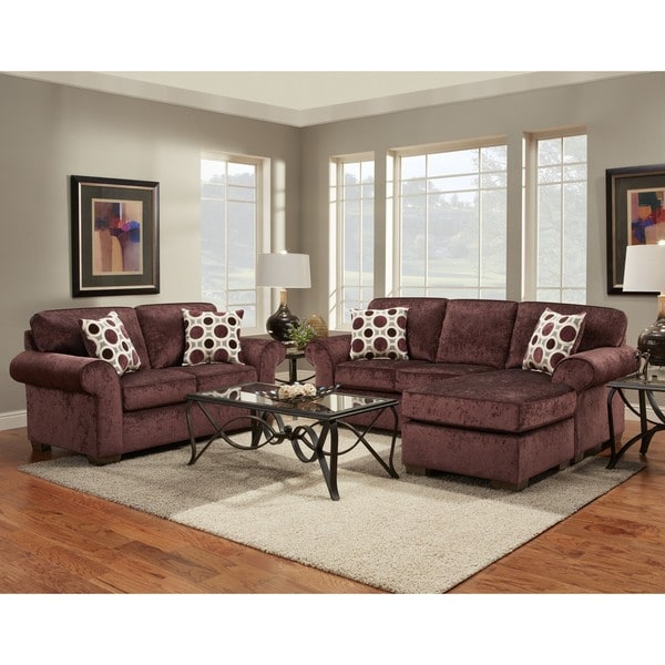 shop 2 burgundy chaise sofa and loveseat set
