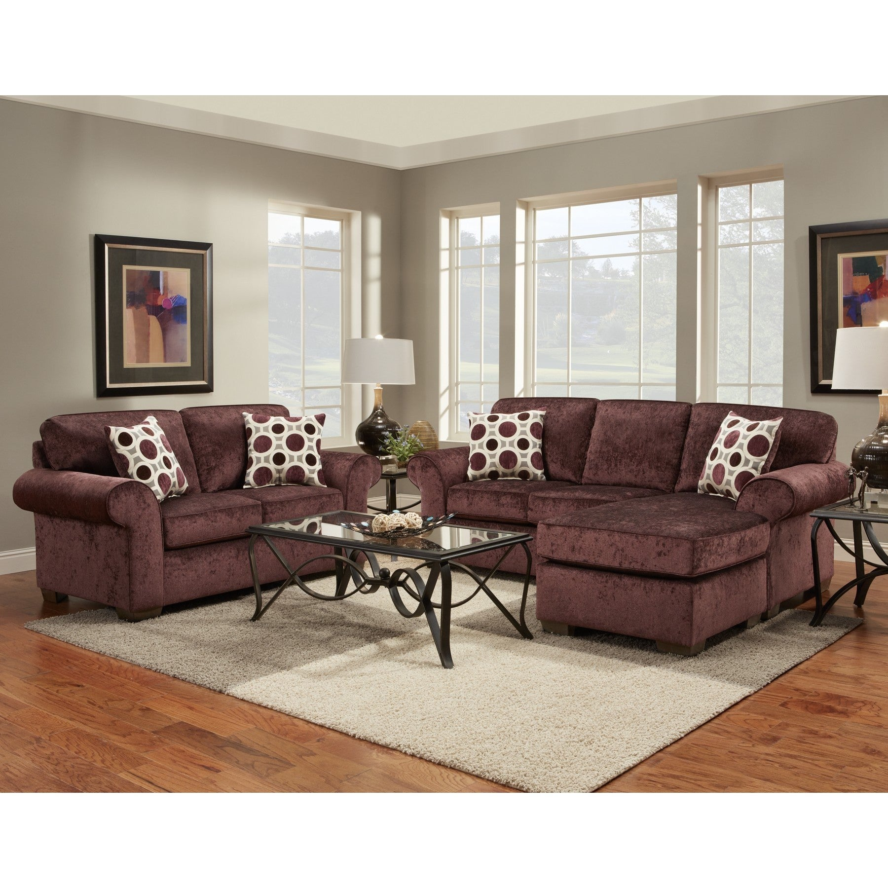 Chloe 2-Piece Burgundy Chaise Sofa and Loveseat Set (Chlo...