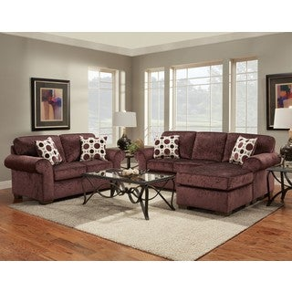 Chloe 2-Piece Burgundy Chaise Sofa and Loveseat Set