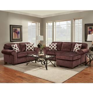 purple living room set. Chloe 2 Piece Burgundy Chaise Sofa and Loveseat Set Purple Living Room Furniture Sets For Less  Overstock com