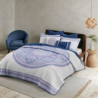 Urban Habitat Candice Purple Cotton Percale Printed Coverlet Set