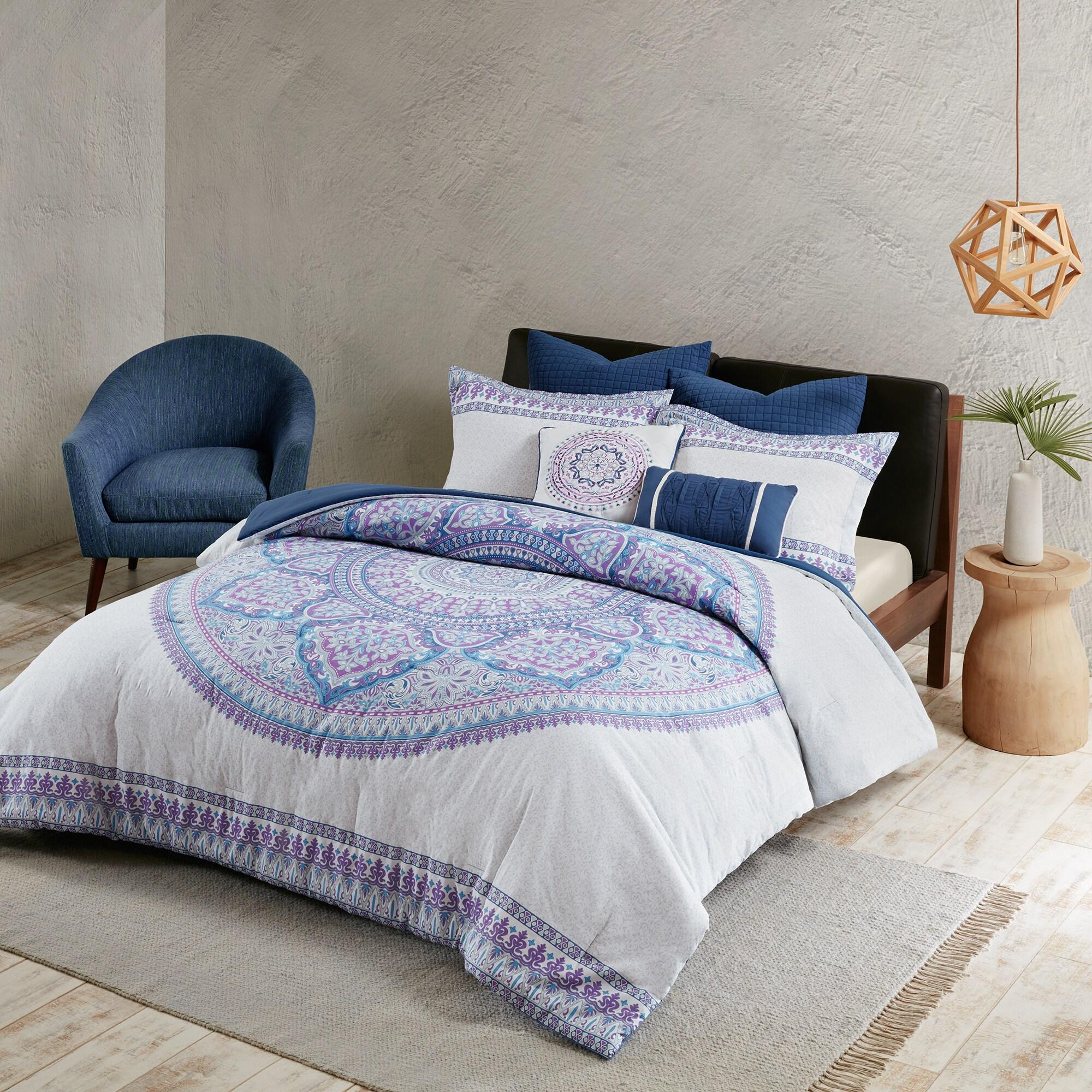 Urban Habitat Candice Purple Cotton Percale Printed Comforter Set