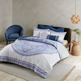 The Curated Nomad La Boheme Purple Cotton Percale Printed Comforter Set