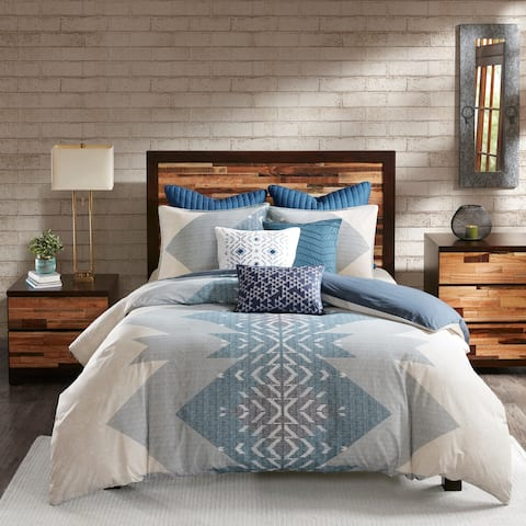 Carson Carrington Blue Cotton Printed Duvet Cover Mini Set