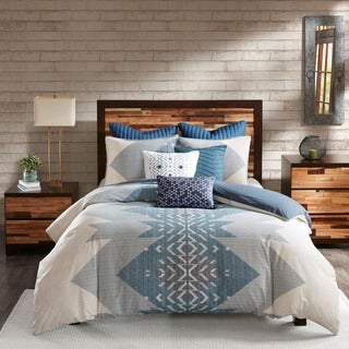 INK+IVY Nova Blue Cotton Printed Duvet Cover Mini Set