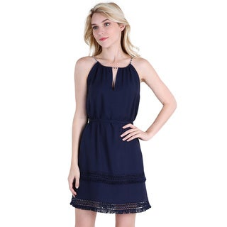 NikiBiki Women's Navy Rayon Halter Dress with Fringe Detail