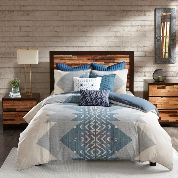 Carson Carrington Blue Cotton Printed Comforter 3-piece Set