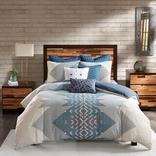 INK+IVY Nova Blue Cotton Printed Comforter 3-Piece Set