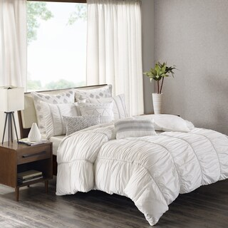 INK+IVY Reese White Cotton Percale Ruched Metallic Twill Taped Duvet Cover Mini Set